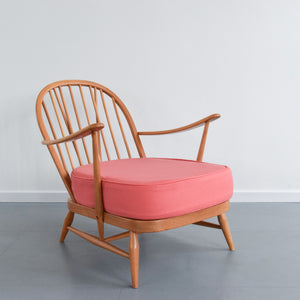 Vintage Low Ercol Windsor Back Easy Chair Model No. 203 with Pink Wool Fabric