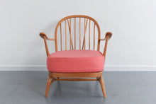 Load image into Gallery viewer, Vintage Low Ercol Windsor Back Easy Chair Model No. 203 with Pink Wool Fabric