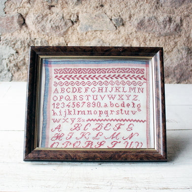 French Vintage Embroidery Alphabet Sampler of Red Cross Stitch