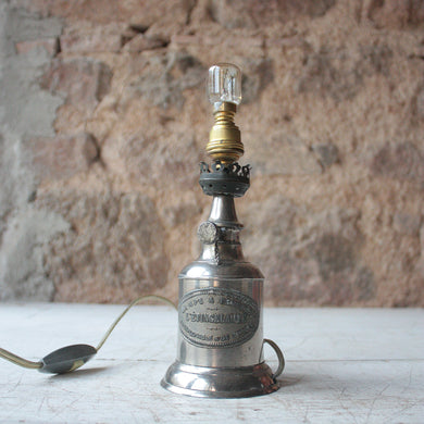 Small French Vintage Tin Petrol Lamp