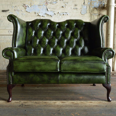 Handmade 2 Seater Chesterfield Leather Sofa - Green
