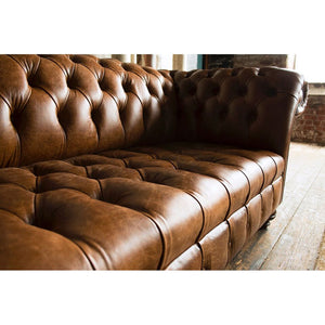 Handmade 2 Seater Chesterfield Leather Sofa - Tan