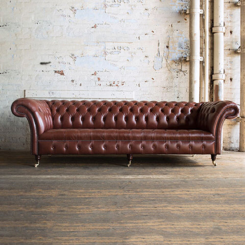 Handmade 4 Seater Chesterfield Leather Sofa - Chestnut Brown