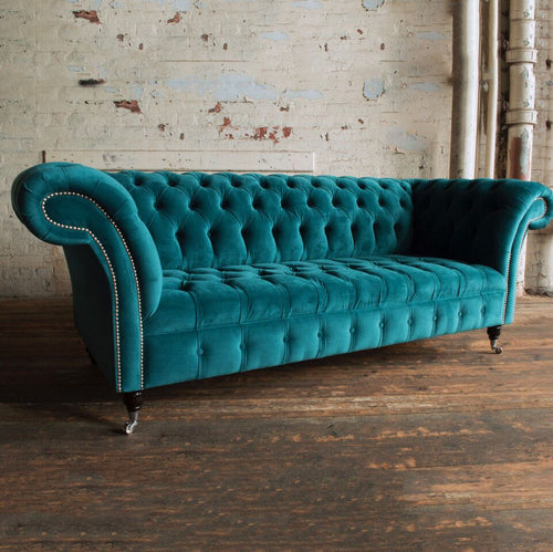 Handmade 3 Seater Velvet Chesterfield Sofa - Teal