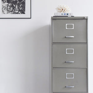 Vintage Grey Four Drawer Metal Filing Cabinet Manufactured by Triumph
