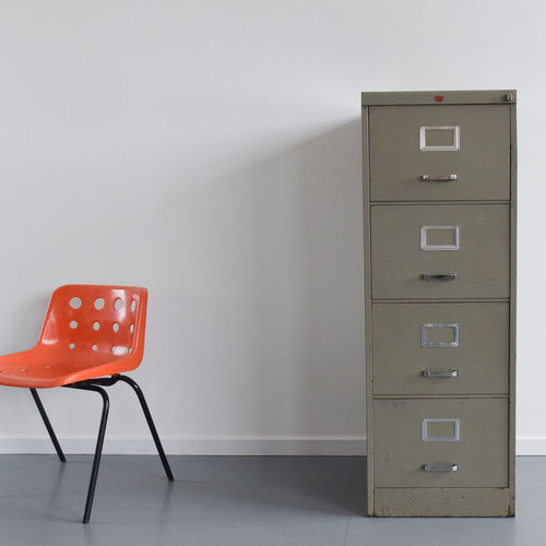 Vintage Grey Four Drawer Metal Filing Cabinet Manufactured by Howden