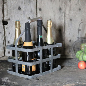 French Vintage Six Bottle Carrier - 1