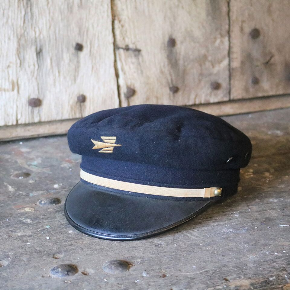 French Vintage Wool Postman's Hat