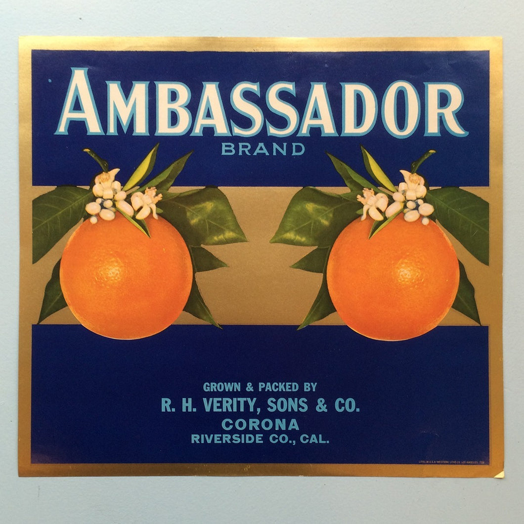 Original Vintage Fruit Crate Label From California - Ambassador Brand