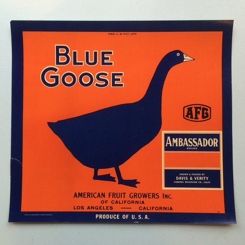 Original Vintage Fruit Crate Label From California - Blue Goose