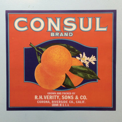 Original Vintage Fruit Crate Label From California - Consul Brand