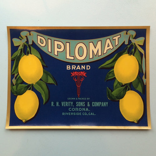 Original Vintage Fruit Crate Label From California - Diplomat Brand