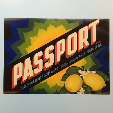 Original Vintage Fruit Crate Label From California - Passport Brand