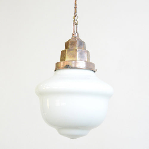 German Art Deco Opaline Pendant Light Circa 1920s