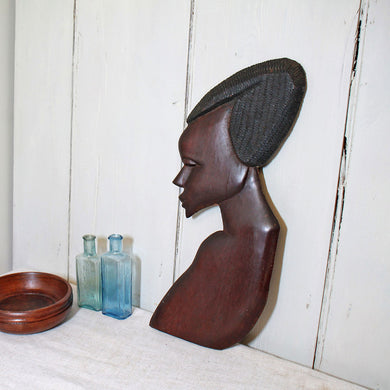 Vintage Wooden Carving of African Female Silhouette