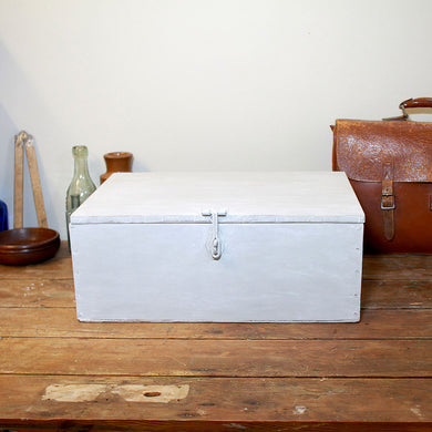 Grey Painted Lockable Vintage Wooden Box