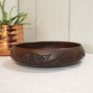 Vintage Hand Turned Wooden Bowl with Carving Detail