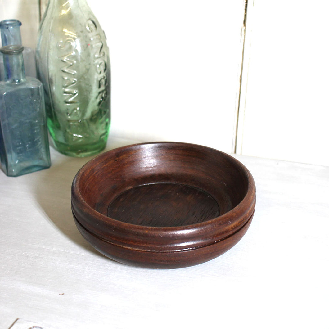 Vintage Hand Turned Wooden Trinket Bowl