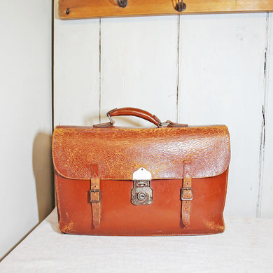 Vintage Leather Satchel Circa 1950s