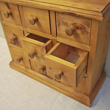 Load image into Gallery viewer, Bank Of Nine Vintage Pine Spice Drawers