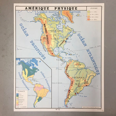 Double Sided French School Map - Asia & America
