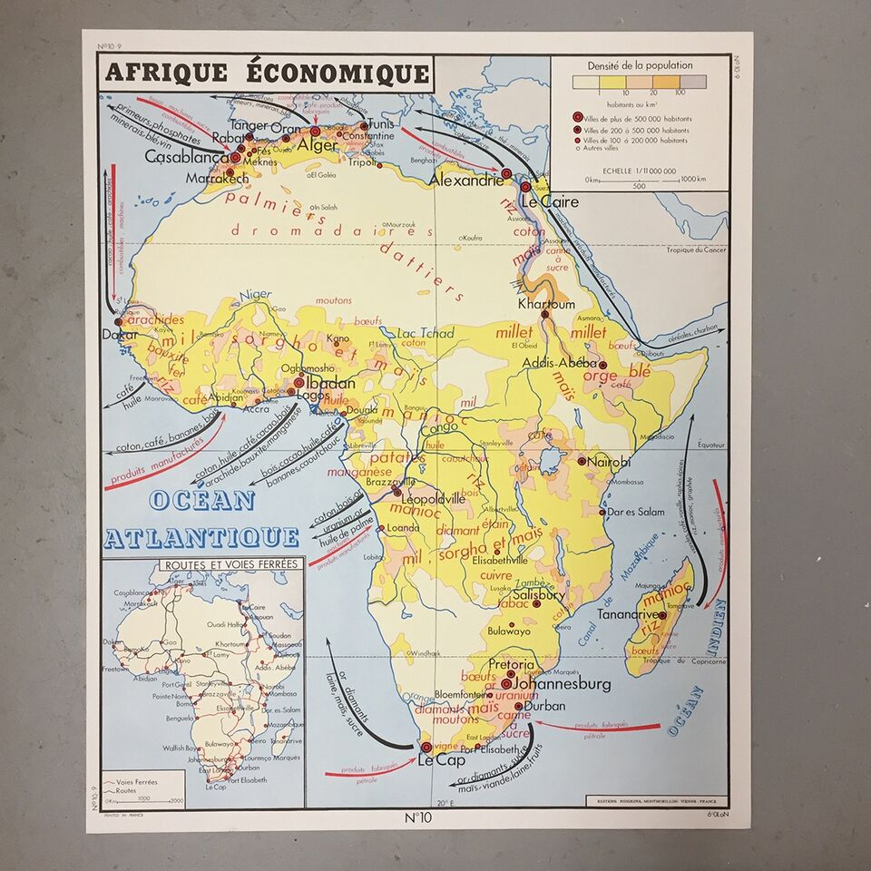 Map Of Africa French.Double Sided French School Map Europe Africa