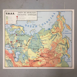 Double Sided French School Map - USSR & USA