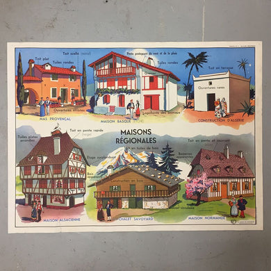 Double Sided French School Poster - Le Plan de la Maison & Maisons Régionales