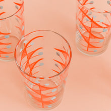 Load image into Gallery viewer, Vintage Set of Four Atomic Patterned Coloured Drinking Glasses / Tumblers