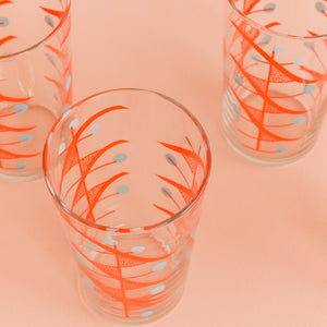 Vintage Set of Four Atomic Patterned Coloured Drinking Glasses / Tumblers