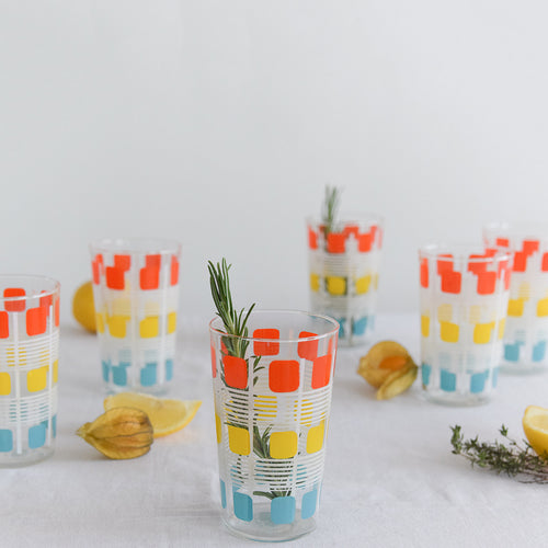 Vintage Geometric Patterned Coloured Drinking Glasses / Tumblers
