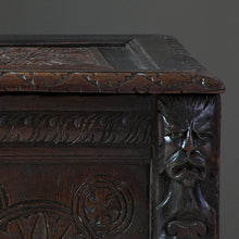 Load image into Gallery viewer, 19th Century Carved Oak Blanket Box or Coffer Chest