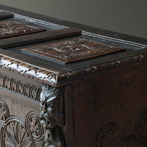 19th Century Carved Oak Blanket Box or Coffer Chest