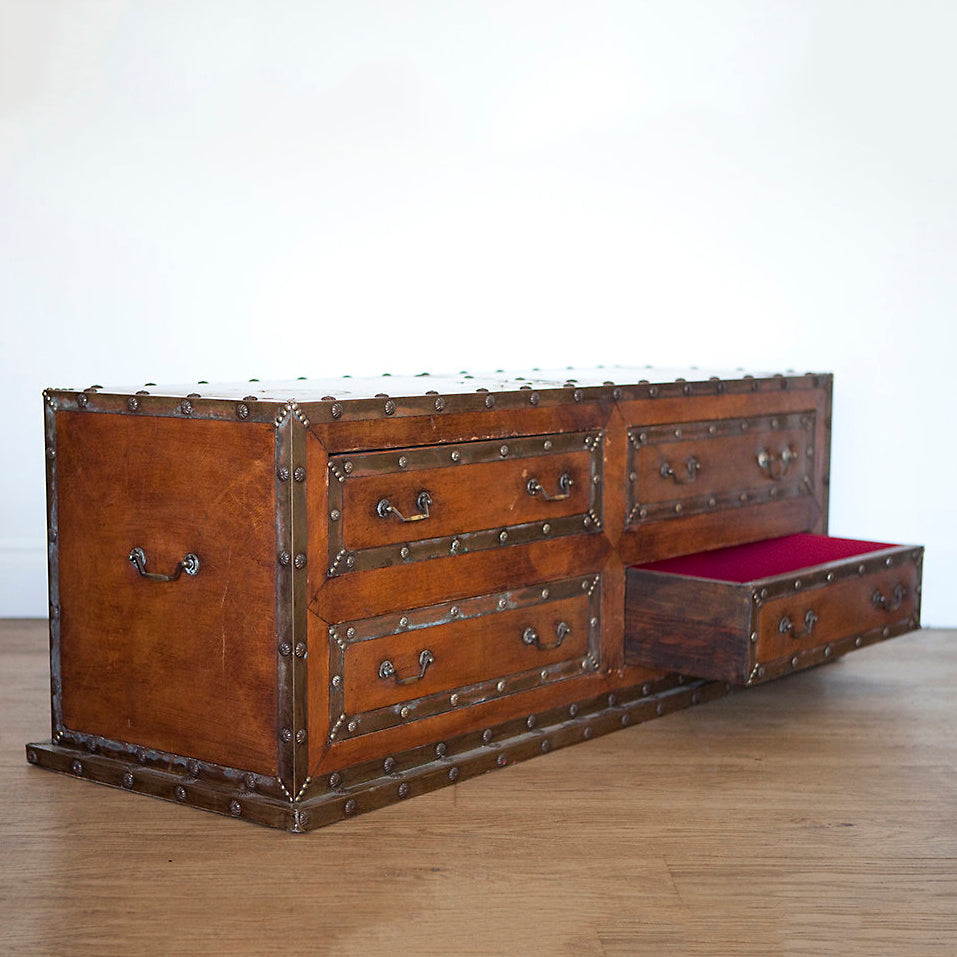 Large Leather Trunk or Ottoman Chest with Four Drawers