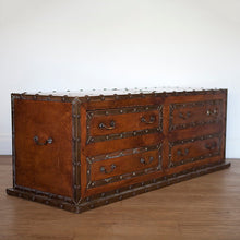 Load image into Gallery viewer, Large Leather Trunk or Ottoman Chest with Four Drawers