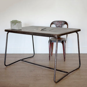 Mid Century French Blackened Steel Table or Large Desk
