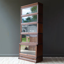 Load image into Gallery viewer, Oak Globe Wenicke Stacking Bookcase with Five Sections and a Long Drawer