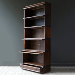 Oak Globe Wenicke Stacking Bookcase with Five Sections and a Long Drawer