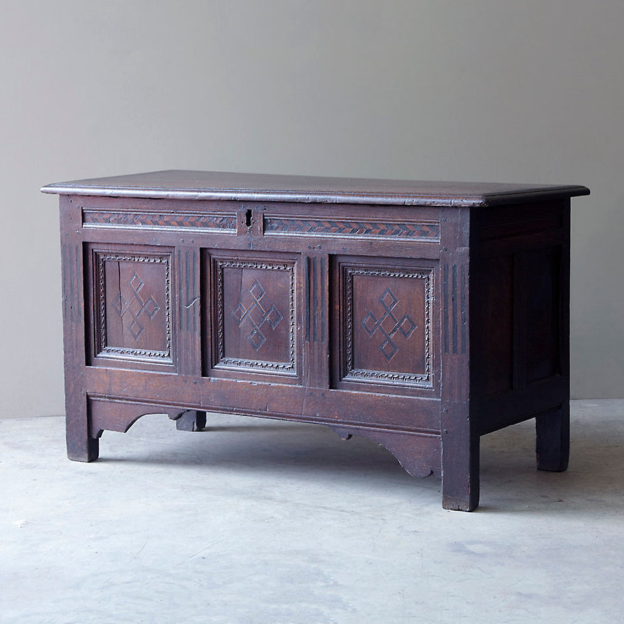 Oak Coffer / Chest with Parquet Pattern Work