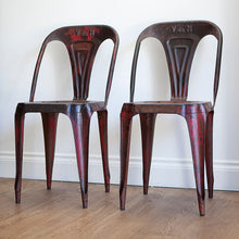 Load image into Gallery viewer, Pair of French Bistro Metal Chairs by Joseph Mathieu