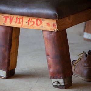 Vintage Leather Gym Bench