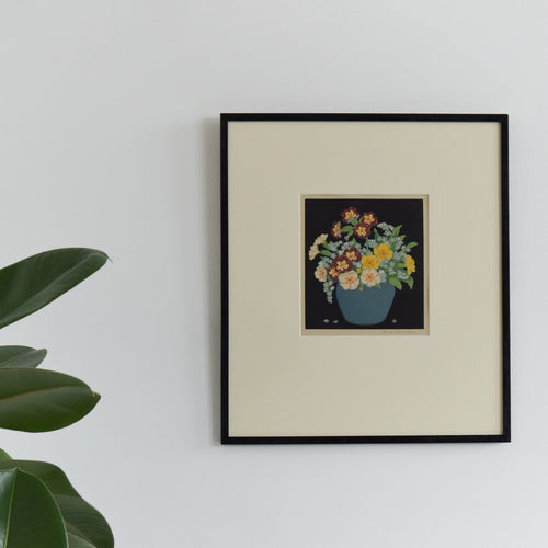 Vintage Original Signed John Hall Thorpe Floral Woodblock Framed Artwork Print 'Primulas and Forget-Me-Nots'