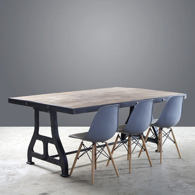Steel Framed Dining Table on Cast Iron Legs - 1