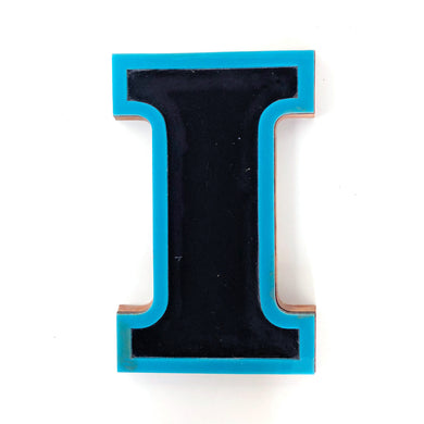 I - Medium Factory Shop Letter Ply Wood & Perspex Black & Blue