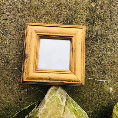 Small Square Golden Wood Mirror