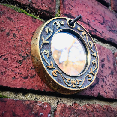 Vintage Brass Framed Small Circular Mirror #4