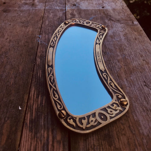 Vintage Brass Framed Small Mirror [221/4586] #3