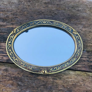 Vintage Brass Framed Small Oval Mirrors #1/2