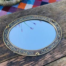 Load image into Gallery viewer, Vintage Brass Framed Small Oval Mirrors #1/2
