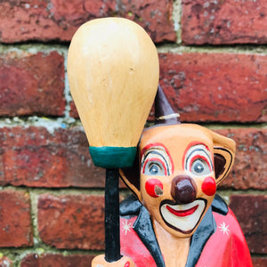 Wooden Hand Carved Vintage Clown